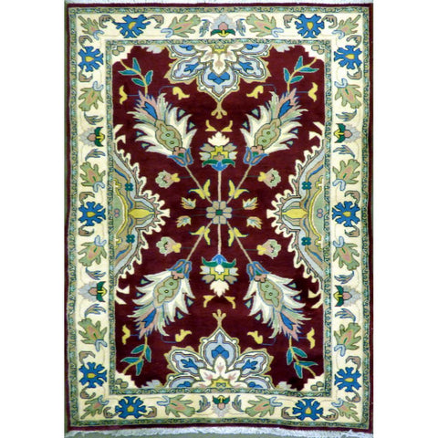 "persian rug sarough Traditional Style Hand-Knotted Indoor Area Rug with Natural Wool and Cotton (6'10"" X 4'0"") ABCRG1001"