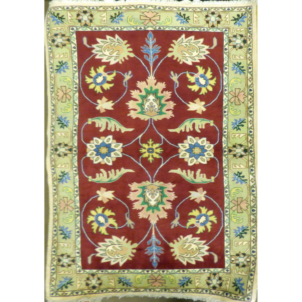 "persian rug sarough Traditional Style Hand-Knotted Indoor Area Rug with Natural Wool and Cotton (7'0"" X 4'2"") ABCRG1040"