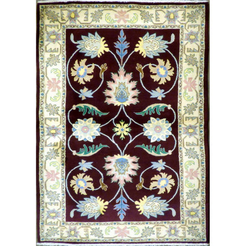 "persian rug sarough Traditional Style Hand-Knotted Indoor Area Rug with Natural Wool and Cotton 6'11"" X 4'0"") ABCRG1047"