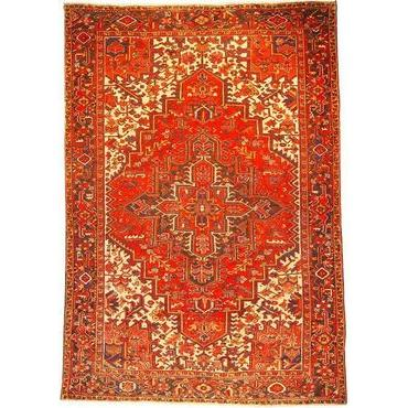 "Authentic Persian Rug heriz Traditional Style Hand-Knotted Indoor Area Rug with Natural Wool and Cotton  10'7""  X  7'3"" ABCR02577"