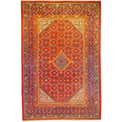 "Authentic Persian Rug mahal Traditional Style Hand-Knotted Indoor Area Rug with Natural Wool and Cotton  10'4""  X  6'9"" ABCR02935"