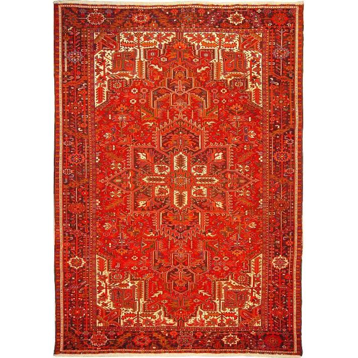 "Authentic Persian Rug heriz Traditional Style Hand-Knotted Indoor Area Rug with Natural Wool and Cotton  10'2""  X  7'2"" ABCR02843"