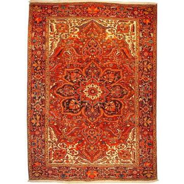 "Authentic Persian Rug heriz Traditional Style Hand-Knotted Indoor Area Rug with Natural Wool and Cotton  11'8""  X  8'4"" ABCR02589"