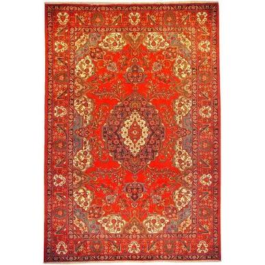 "Authentic Persian Rug tabriz Traditional Style Hand-Knotted Indoor Area Rug with Natural Wool and Cotton  11'7""  X  7'11"" ABCR02122"