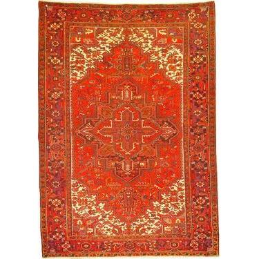 "Authentic Persian Rug heriz Traditional Style Hand-Knotted Indoor Area Rug with Natural Wool and Cotton  10'6""  X  7'4"" ABCR02346"
