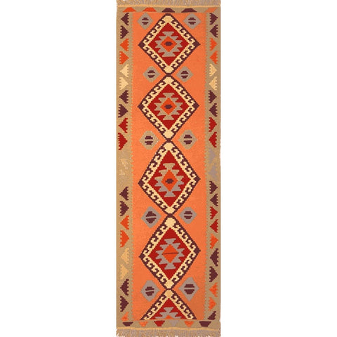 "Ardabil Persian Kilim Collection and Modern Colorful Hand-Knotted Multi Area kilim with Natural Wool and Cotton  8'6"" X 1'9"" ABCK00205"