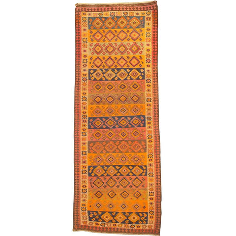 "Gazvin Persian Kilim Collection and Modern Colorful Hand-Knotted Multi Area kilim with Natural Wool and Cotton  12'0"" X 4'5"" ABCK00263"