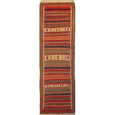 "Gazvin Persian Kilim Collection and Modern Colorful Hand-Knotted Multi Area kilim with Natural Wool and Cotton  10'9"" X 3'4"" ABCK00249"
