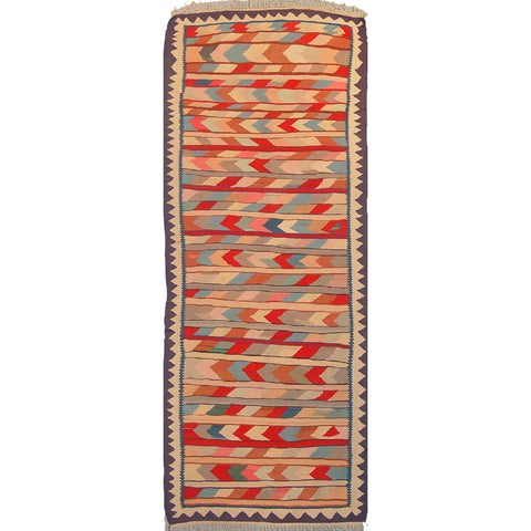 "Gazvin Persian Kilim Collection and Modern Colorful Hand-Knotted Multi Area kilim with Natural Wool and Cotton  10'5"" X 3'11"" ABCK00102"
