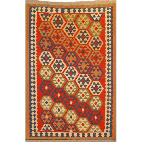 "Ardabil Persian Kilim Collection and Modern Colorful Hand-Knotted Multi Area kilim with Natural Wool and Cotton  8'10"" X 5'10"" ABCK00166"