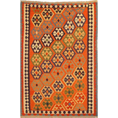 "Ardabil Persian Kilim Collection and Modern Colorful Hand-Knotted Multi Area kilim with Natural Wool and Cotton  9'2"" X 5'8"" ABCK00114"