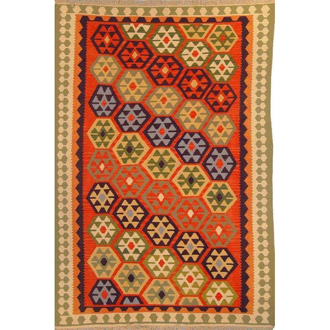 "Ardabil Persian Kilim Collection and Modern Colorful Hand-Knotted Multi Area kilim with Natural Wool and Cotton  8'10"" X 5'10"" ABCK00129"