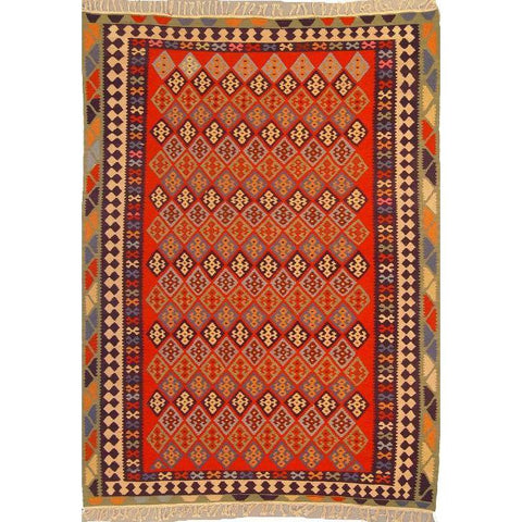 "Ardabil Persian Kilim Collection and Modern Colorful Hand-Knotted Multi Area kilim with Natural Wool and Cotton  9'0"" X 6'8"" ABCK00059"