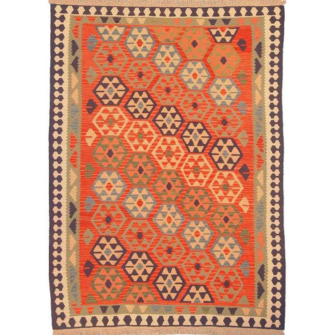 "Ardabil Persian Kilim Collection and Modern Colorful Hand-Knotted Multi Area kilim with Natural Wool and Cotton  8'10"" X 6'0"" ABCK00158"