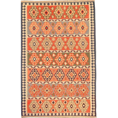 "Ardabil Persian Kilim Collection and Modern Colorful Hand-Knotted Multi Area kilim with Natural Wool and Cotton  9'2"" X 5'10"" ABCK00103"