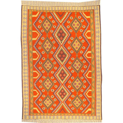 "Ardabil Persian Kilim Collection and Modern Colorful Hand-Knotted Multi Area kilim with Natural Wool and Cotton  9'2"" X 6'2"" ABCK00284"