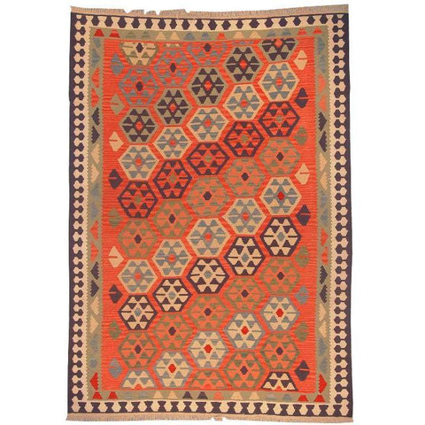 "Ardabil Persian Kilim Collection and Modern Colorful Hand-Knotted Multi Area kilim with Natural Wool and Cotton  8'8"" X 6'0"" ABCK00131"
