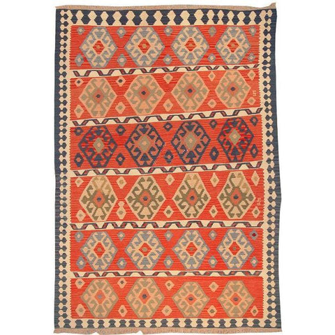 "Ardabil Persian Kilim Collection and Modern Colorful Hand-Knotted Multi Area kilim with Natural Wool and Cotton  8'6"" X 5'10"" ABCK00117"