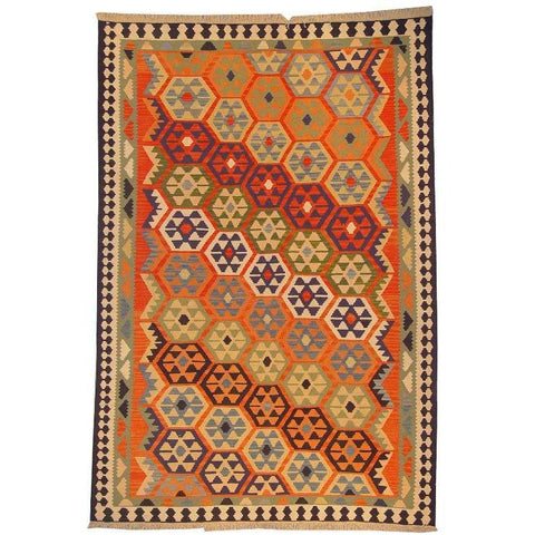 "Ardabil Persian Kilim Collection and Modern Colorful Hand-Knotted Multi Area kilim with Natural Wool and Cotton  9'0"" X 5'10"" ABCK00178"