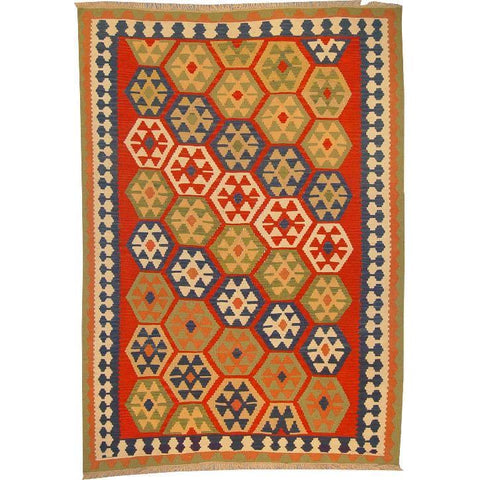 "Ardabil Persian Kilim Collection and Modern Colorful Hand-Knotted Multi Area kilim with Natural Wool and Cotton  8'8"" X 5'10"" ABCK00164"