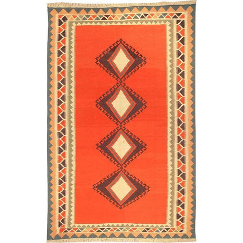 "Ardabil Persian Kilim Collection and Modern Colorful Hand-Knotted Multi Area kilim with Natural Wool and Cotton  9'8"" X 6'1"" ABCK00078"