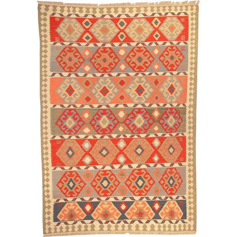 "Ardabil Persian Kilim Collection and Modern Colorful Hand-Knotted Multi Area kilim with Natural Wool and Cotton  8'10"" X 5'10"" ABCK00121"