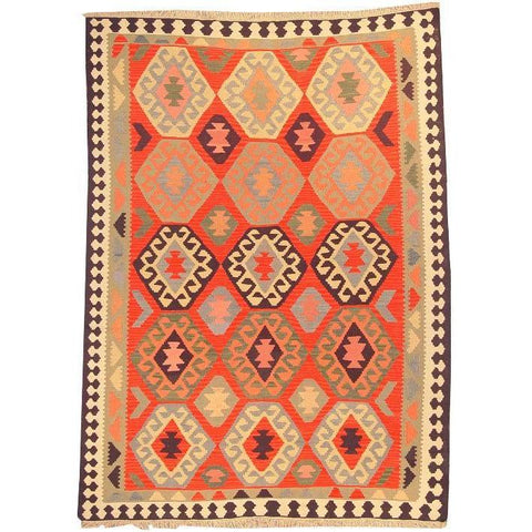 "Ardabil Persian Kilim Collection and Modern Colorful Hand-Knotted Multi Area kilim with Natural Wool and Cotton  8'8"" X 6'0"" ABCK00143"