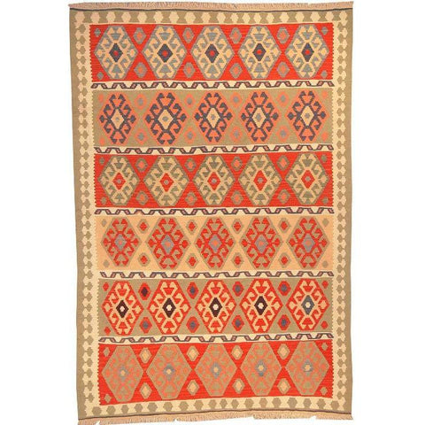"Ardabil Persian Kilim Collection and Modern Colorful Hand-Knotted Multi Area kilim with Natural Wool and Cotton  8'10"" X 5'10"" ABCK00154"