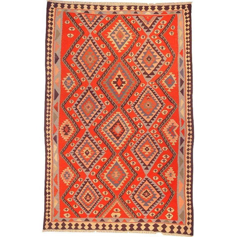 "Ardabil Persian Kilim Collection and Modern Colorful Hand-Knotted Multi Area kilim with Natural Wool and Cotton  9'0"" X 5'8"" ABCK00188"