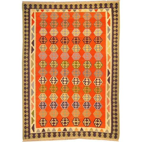 "Ardabil Persian Kilim Collection and Modern Colorful Hand-Knotted Multi Area kilim with Natural Wool and Cotton  8'10"" X 6'2"" ABCK00140"
