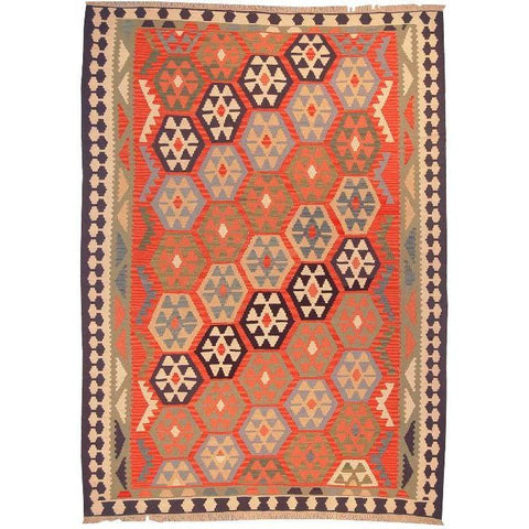 "Ardabil Persian Kilim Collection and Modern Colorful Hand-Knotted Multi Area kilim with Natural Wool and Cotton  8'6"" X 6'2"" ABCK00130"