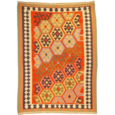 "Ardabil Persian Kilim Collection and Modern Colorful Hand-Knotted Multi Area kilim with Natural Wool and Cotton  8'6"" X 5'2"" ABCK00119"