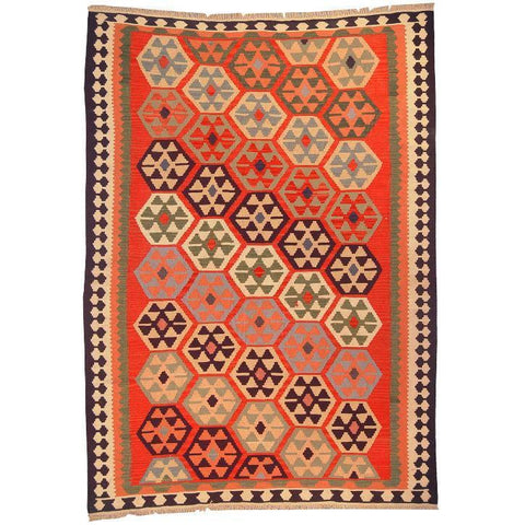 "Ardabil Persian Kilim Collection and Modern Colorful Hand-Knotted Multi Area kilim with Natural Wool and Cotton  8'6"" X 6'0"" ABCK00128"