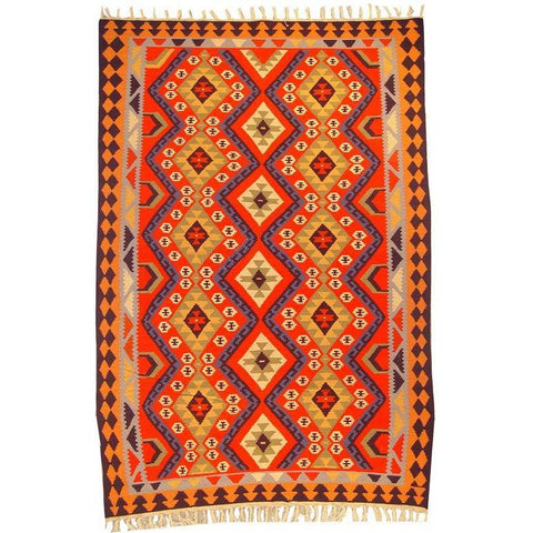 "Ardabil Persian Kilim Collection and Modern Colorful Hand-Knotted Multi Area kilim with Natural Wool and Cotton  9'6"" X 5'10"" ABCK00028"