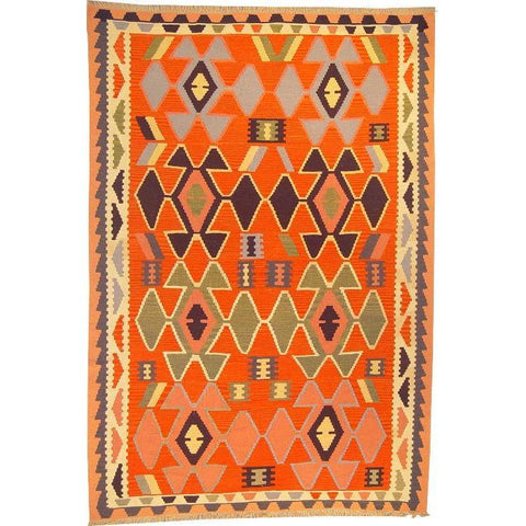 "Ardabil Persian Kilim Collection and Modern Colorful Hand-Knotted Multi Area kilim with Natural Wool and Cotton  8'10"" X 6'0"" ABCK00167"