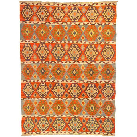 "Ardabil Persian Kilim Collection and Modern Colorful Hand-Knotted Multi Area kilim with Natural Wool and Cotton  8'6"" X 6'0"" ABCK00169"