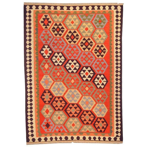 "Ardabil Persian Kilim Collection and Modern Colorful Hand-Knotted Multi Area kilim with Natural Wool and Cotton  8'8"" X 5'10"" ABCK00139"