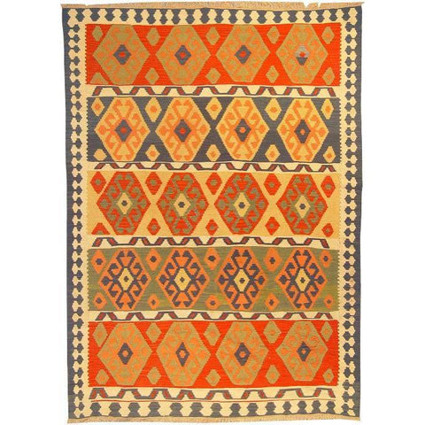 "Ardabil Persian Kilim Collection and Modern Colorful Hand-Knotted Multi Area kilim with Natural Wool and Cotton  8'6"" X 5'10"" ABCK00150"