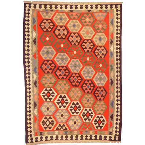 "Ardabil Persian Kilim Collection and Modern Colorful Hand-Knotted Multi Area kilim with Natural Wool and Cotton  8'10"" X 6'2"" ABCK00152"