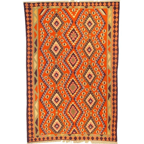 "Ardabil Persian Kilim Collection and Modern Colorful Hand-Knotted Multi Area kilim with Natural Wool and Cotton  8'10"" X 5'8"" ABCK00179"