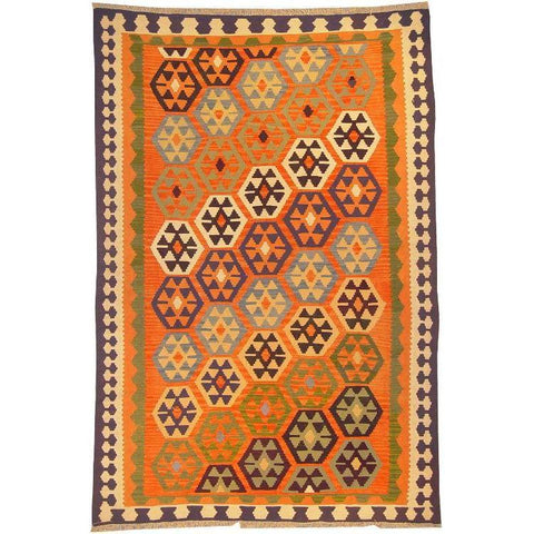 "Ardabil Persian Kilim Collection and Modern Colorful Hand-Knotted Multi Area kilim with Natural Wool and Cotton  8'10"" X 5'8"" ABCK00168"