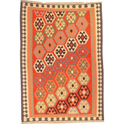 "Ardabil Persian Kilim Collection and Modern Colorful Hand-Knotted Multi Area kilim with Natural Wool and Cotton  8'6"" X 5'10"" ABCK00171"