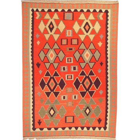 "Ardabil Persian Kilim Collection and Modern Colorful Hand-Knotted Multi Area kilim with Natural Wool and Cotton  8'8"" X 6'0"" ABCK00149"