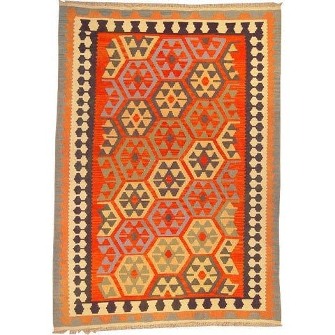 "Ardabil Persian Kilim Collection and Modern Colorful Hand-Knotted Multi Area kilim with Natural Wool and Cotton  8'6"" X 5'10"" ABCK00132"