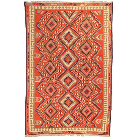 "Ardabil Persian Kilim Collection and Modern Colorful Hand-Knotted Multi Area kilim with Natural Wool and Cotton  9'1"" X 5'10"" ABCK00184"