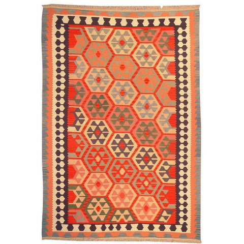 "Ardabil Persian Kilim Collection and Modern Colorful Hand-Knotted Multi Area kilim with Natural Wool and Cotton  8'10"" X 5'10"" ABCK00122"