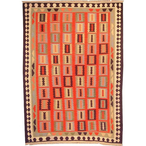 "Ardabil Persian Kilim Collection and Modern Colorful Hand-Knotted Multi Area kilim with Natural Wool and Cotton  8'10"" X 6'0"" ABCK00142"