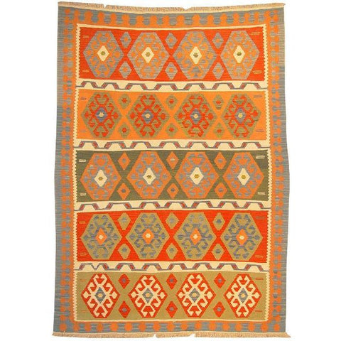 "Ardabil Persian Kilim Collection and Modern Colorful Hand-Knotted Multi Area kilim with Natural Wool and Cotton  8'6"" X 5'10"" ABCK00124"