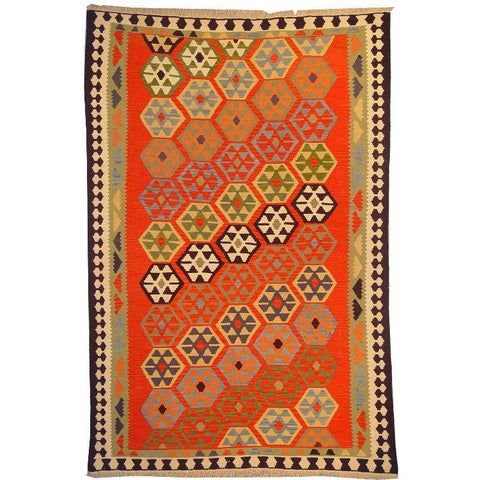 "Ardabil Persian Kilim Collection and Modern Colorful Hand-Knotted Multi Area kilim with Natural Wool and Cotton  9'2"" X 5'10"" ABCK00170"