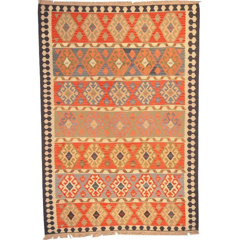"Ardabil Persian Kilim Collection and Modern Colorful Hand-Knotted Multi Area kilim with Natural Wool and Cotton  8'10"" X 6'0"" ABCK00120"